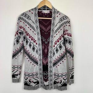 Pink Republic Aztec Open Front Knit Cardigan